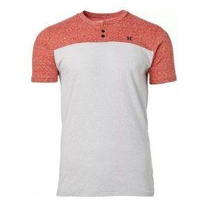 Hurley Catalina Henley Ash Gray Red T Shirt XXL